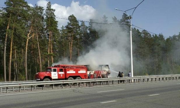 Сгорел пассажирский автобус – видео