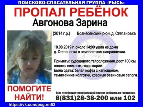 820 человек ищут пропавшую 5-летнюю девочку