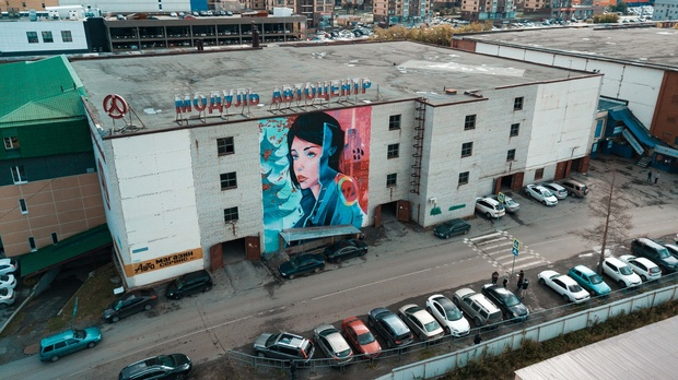 В Тюмени на стене здания появилось изображение девушки в стиле киберпанк: фото